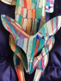 Kandinsky Style Brooch - Lea Stein of Paris Fox Pin  with Abstract Effect - Bright Colours (sold)